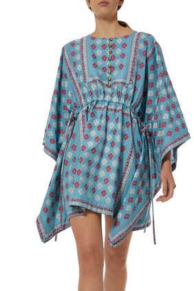 GG Flower Fil Coupé Short Kaftan Dress
