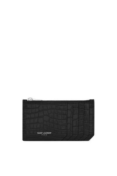 Fragments Zipped Card Case in Crocodile-Embossed Shiny Leather