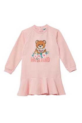 Teddy Bear Flowers Logo Print Dress