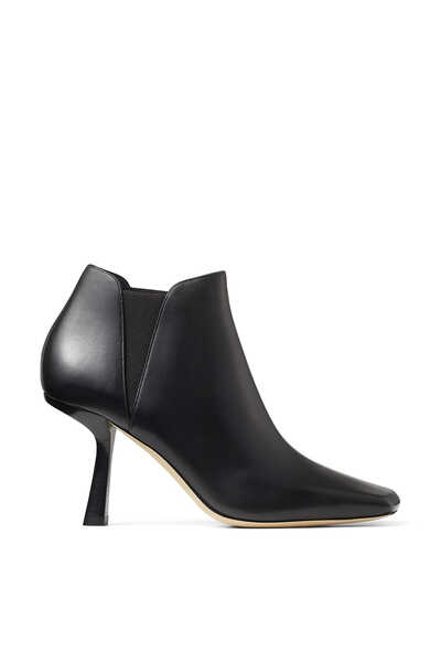 Black Shiny Soft Calf Leather Scoop Heel Ankle Boot Marcelin 85