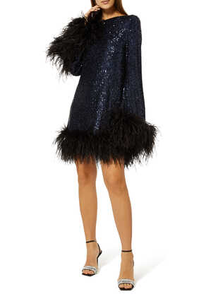 Sequined Feather-Trimmed Dress