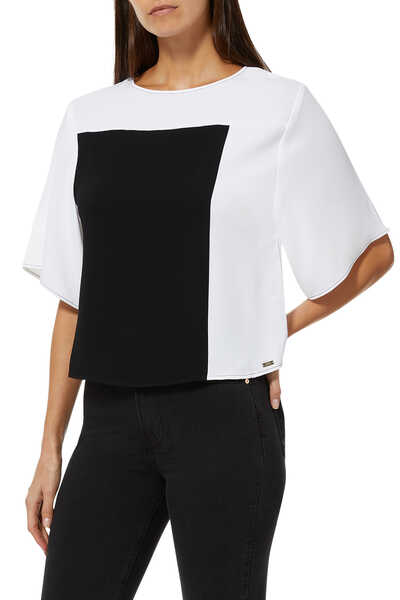 Printed Color Block Top