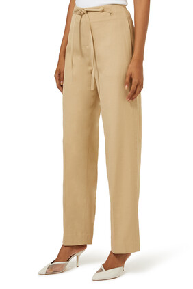 High- Rise Belted Straight Leg Pants