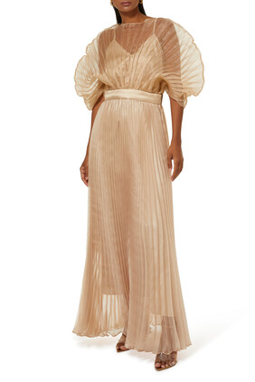 Pleated Fan Sleeve Gown