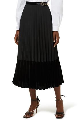 Long Pleated Wrap Around Skirt