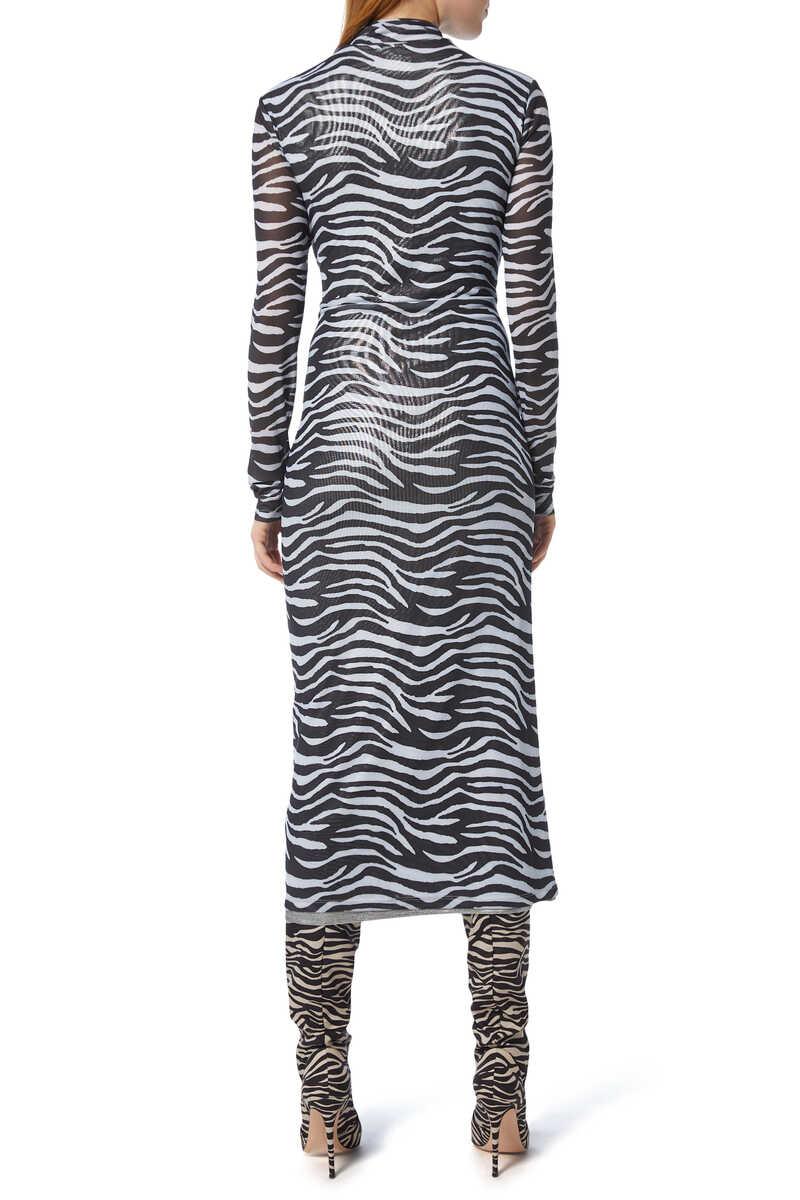 Brae Zebra-Print Midi Dress image number 3