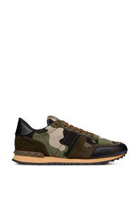 Valentino Garavani Mesh Camouflage Rockrunner Sneakers