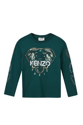 Elephant and Logo Print Long Sleeve T-shirt