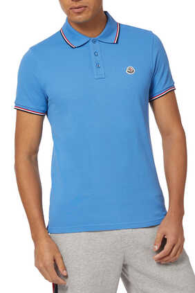 Tri-Color Stripe Logo Patch Polo Shirt