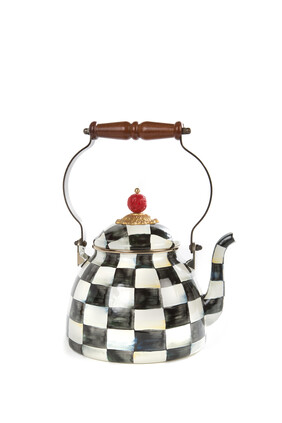 Courtly Check Enamel Tea Kettle, 3 Quart
