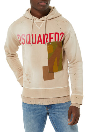 Distressed Patch Hoodie