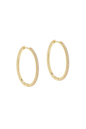 Large Pavé 360 Hoop Earrings