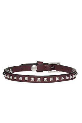 Burgundy Leather Gunmetal Mini-Rockstud Bracelet