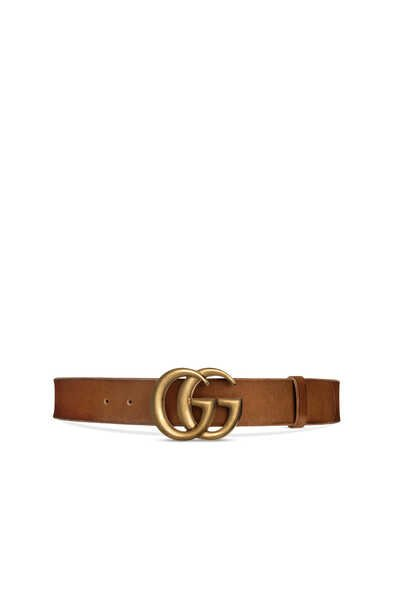 Wide Leather Double G Belt