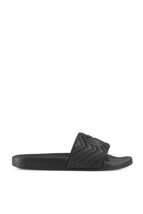 Matelassé Rubber Slide Sandals
