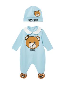 Moschino Teddy Bear Fleece Onesie and Hat Set