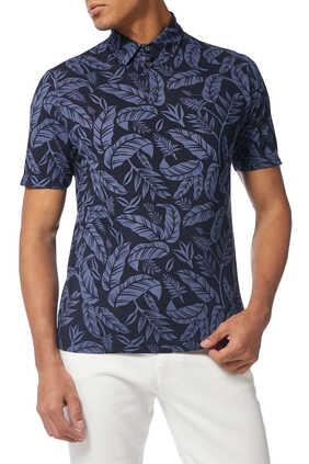 Piquet Palm Print Polo Shirt
