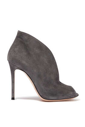 Suede Peep Toe Boots