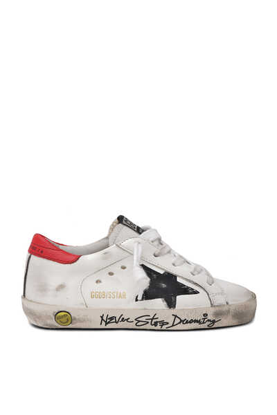 "Super-Star ""Never Stop Dreaming"" Lettering and Print Star Sneakers"