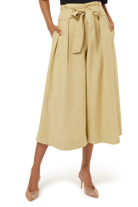 Belted Palazzo Culotte Pant