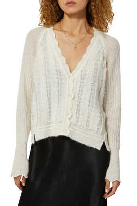 Wool Scallop Neck Cardigan