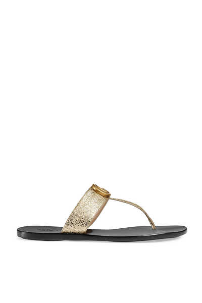 GG Metallic Leather Thongs