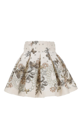 Jewel Print Pleated Skirt