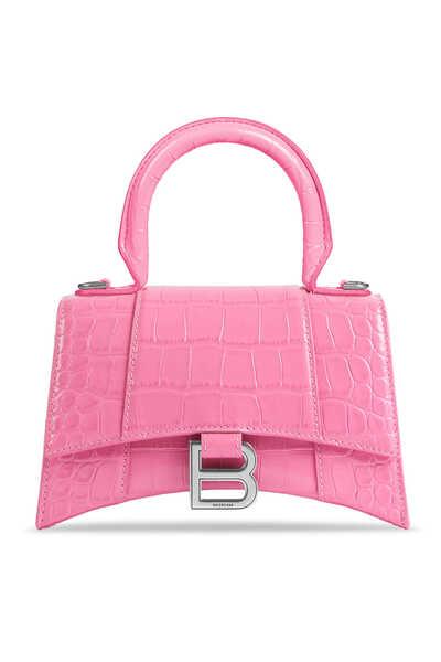 Croc-Embossed Hourglass XS Top Handle Bag