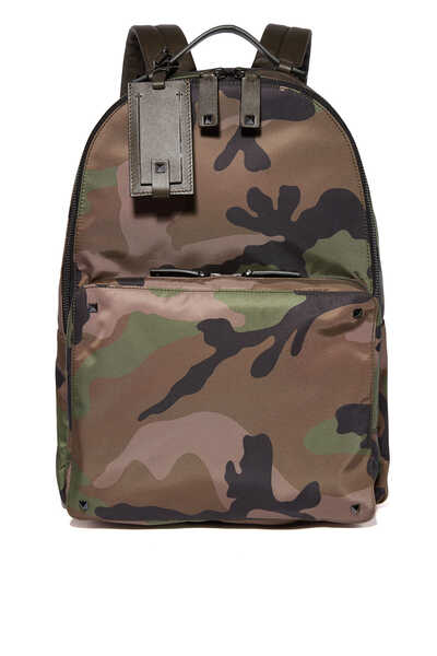 Valentino Garavani Camo-Print Nylon Backpack