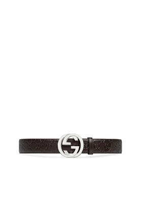 Interlocking Logo Leather Belt