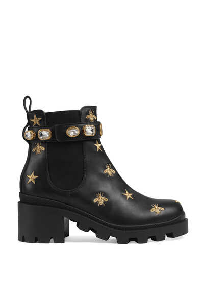 Leather Embellished Ankle Boots