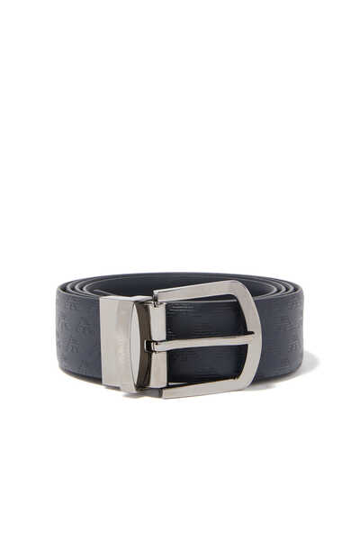 All-Over Logo Reversible Leather Buckle Belt