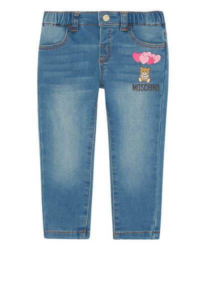 Teddy Heart Print Denim Jeans