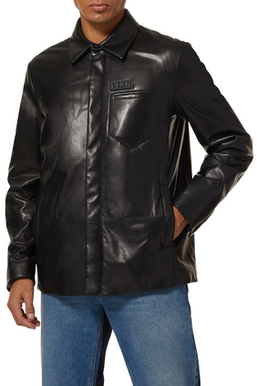Logo Tag Leather Blouse