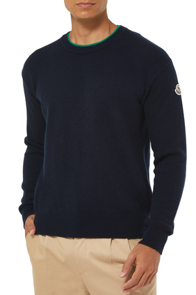 Crew Neck Logo Knit Sweater