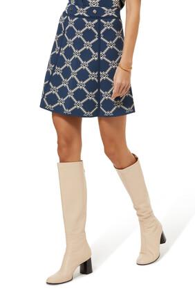 Double S Jacquard Knit A-line Mini Skirt