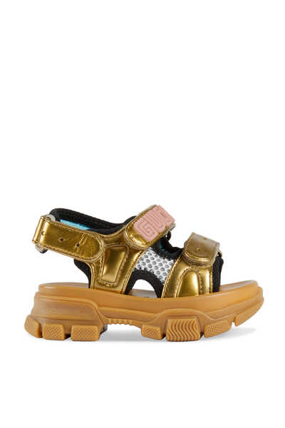 Metallic Leather And Mesh Sandals