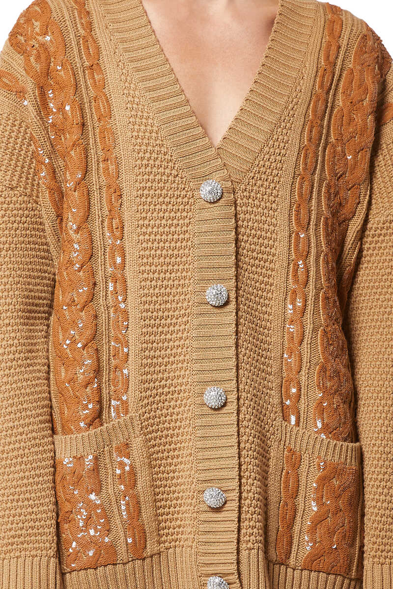 Sequin Embellished Caramel Cable Knit Cardigan image number 4