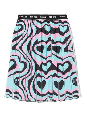 Pleated Floating Hearts Skirt